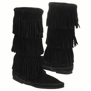 Black Minnetonka Fringe Boots
